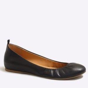 "J Crew ""Anya"" Leather Black Ballet Flats Size 8"